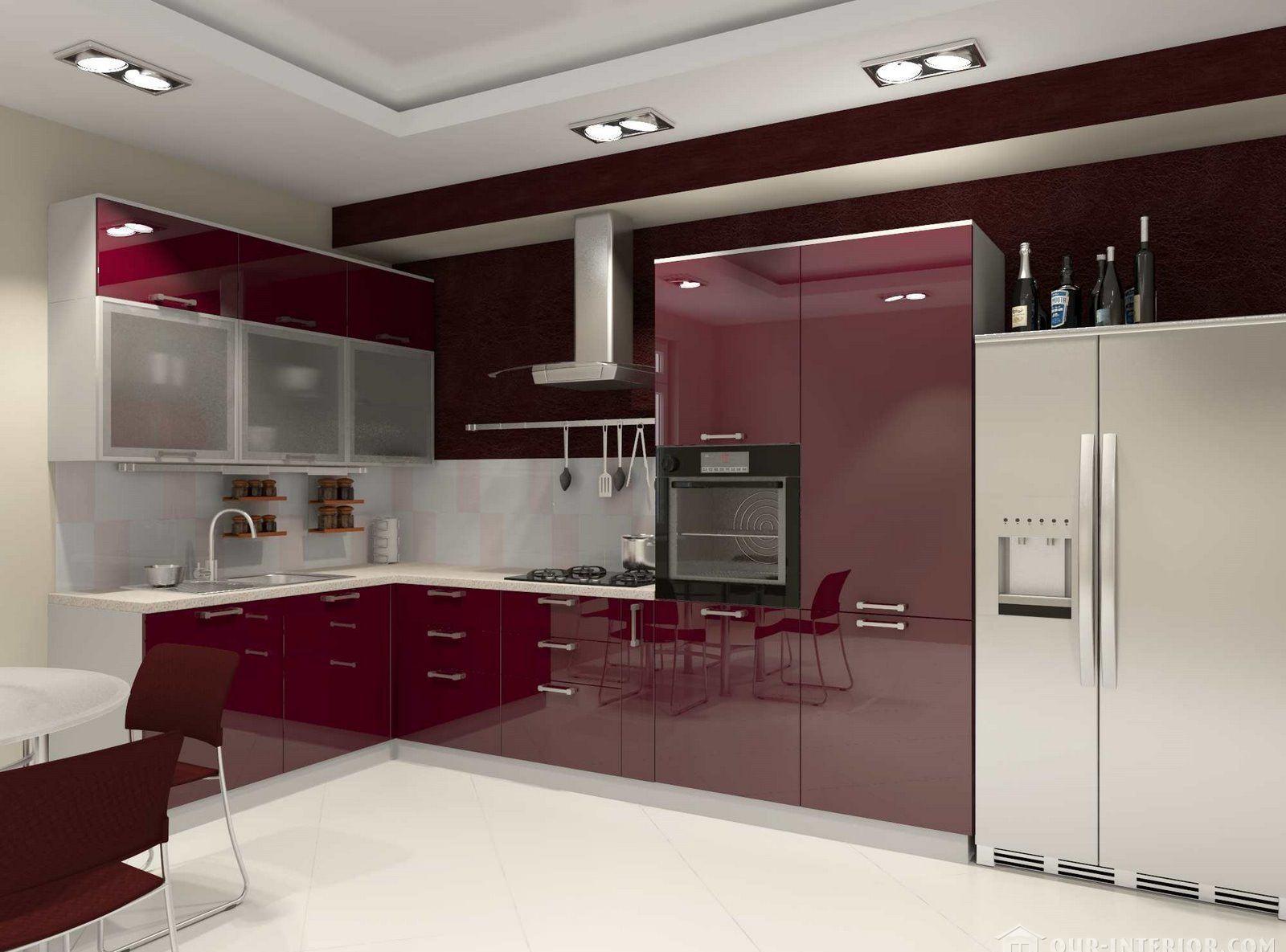 Глянцевая бордово-белая кухня