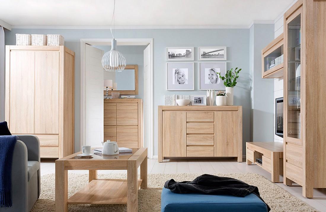 Мебель цвета дуба сономы в гостиной