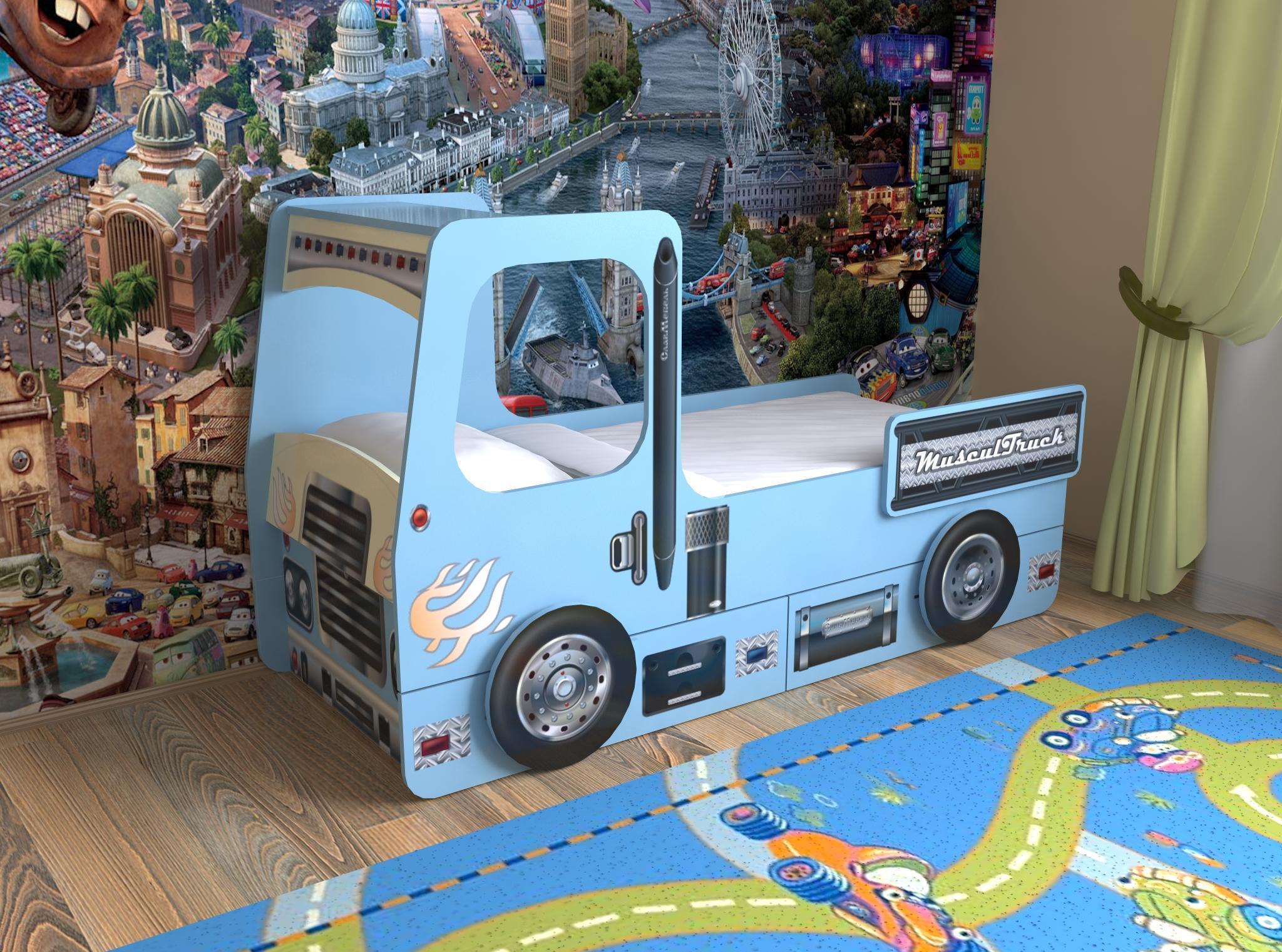 Детская кровать-машина с бортиками