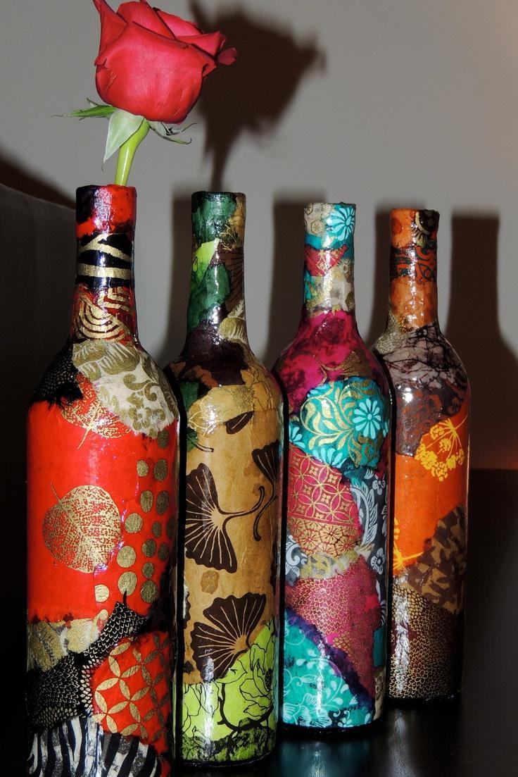 Новогодний декупаж бутылки шампанского разноцветный