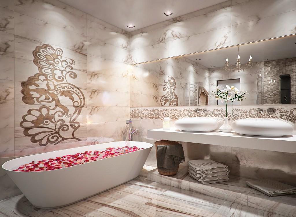 Натуральный камень с узорами в отделке ванной
