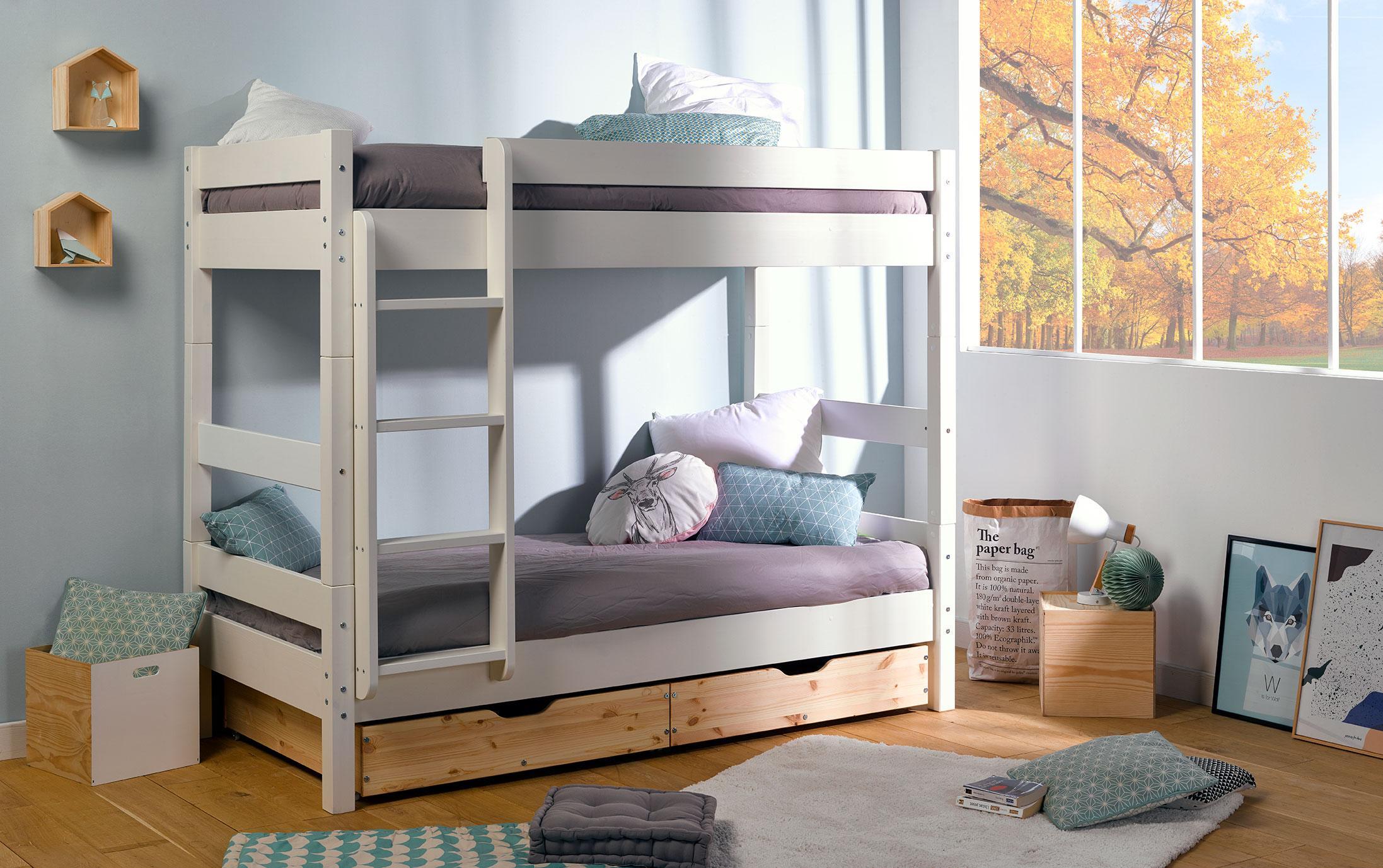 Двухъярусная детская кровать с ящиками