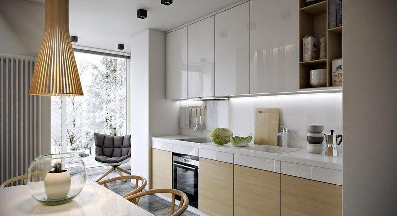 Бело-корчиневая уютная кухня
