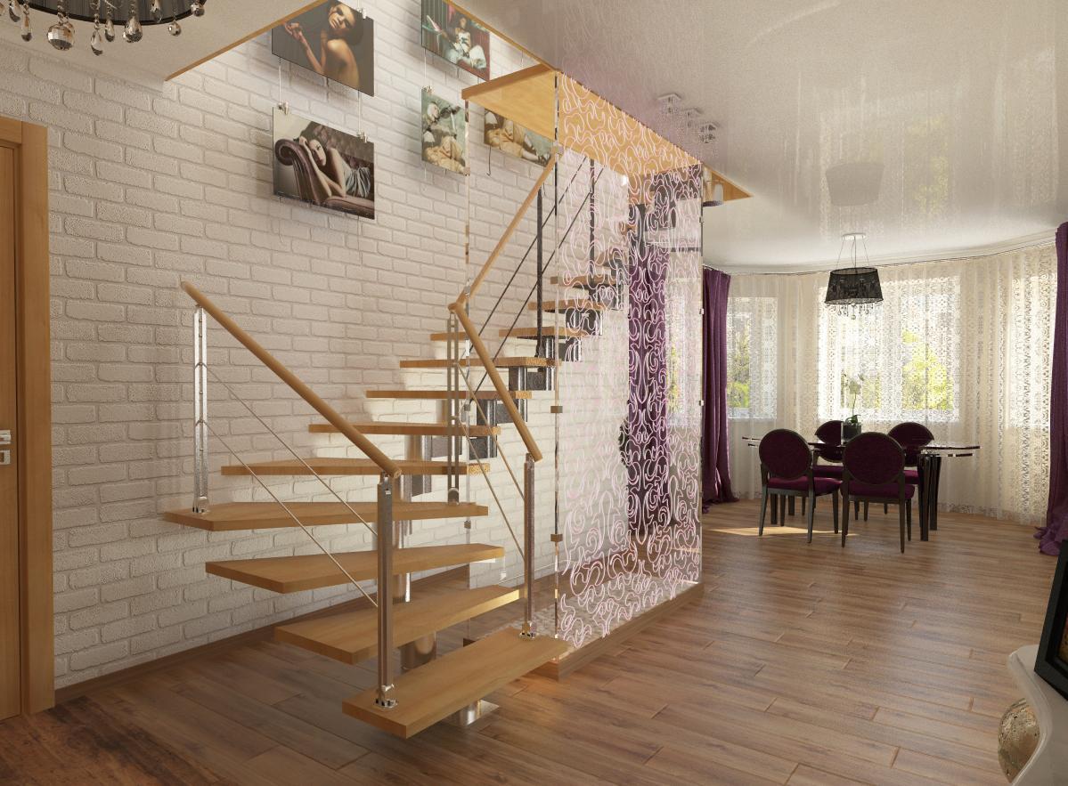Красивая поворотная лестница в двухуровневой квартире