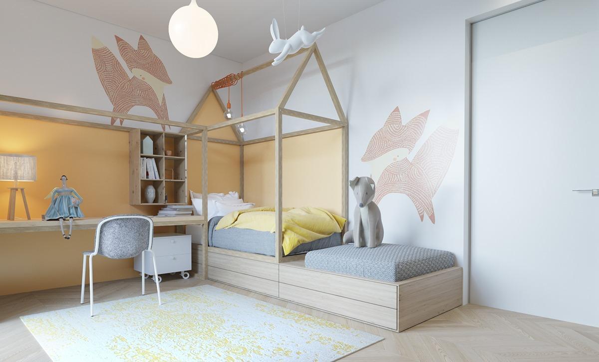 Детская комната в хрущевке с рисунком на стене