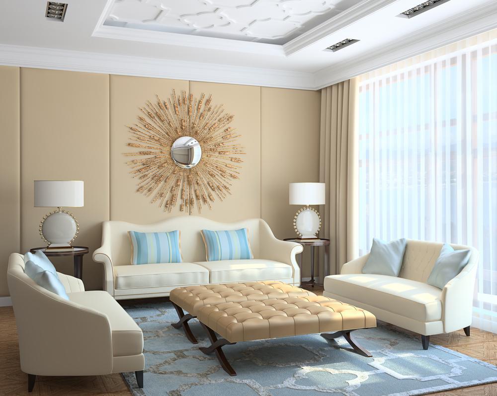 Бежево-голубая гостиная
