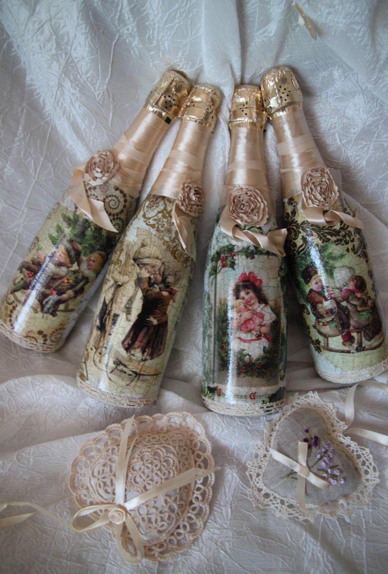 Декупаж бутылки шампанского на новый год винтажный