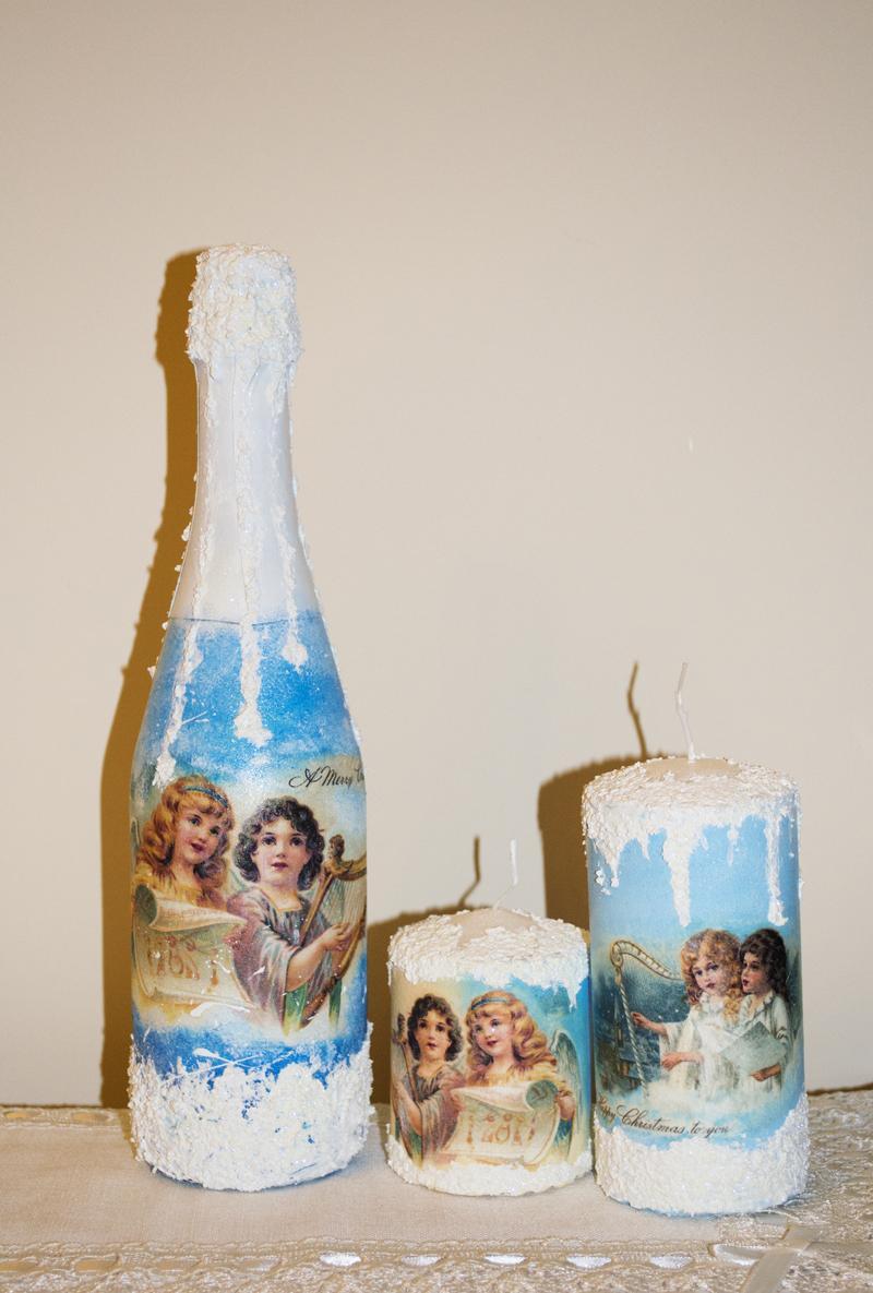 Декупаж бутылки шампанского и свечей на новый год