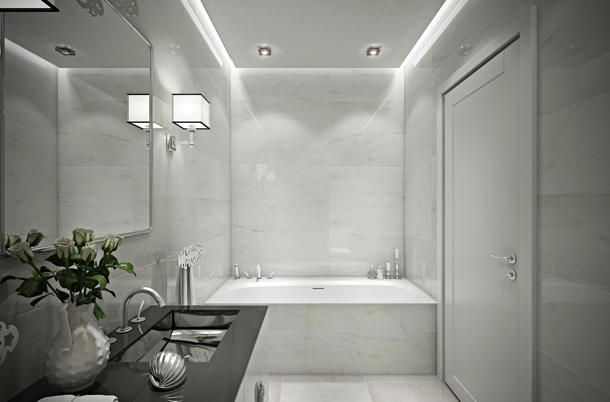 Черно-белая ванная комната без унитаза