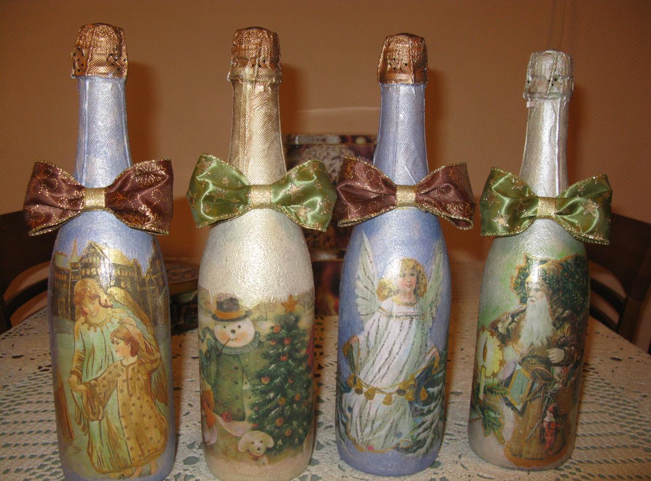 Декупаж бутылки шампанского в стиле ретро на новый год