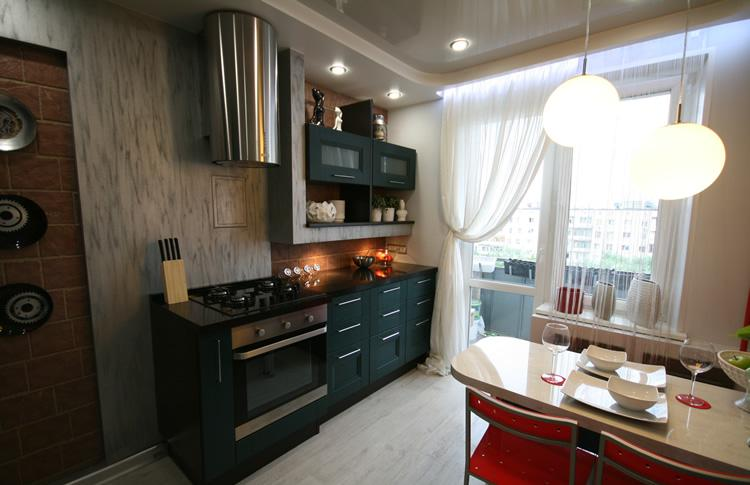 Небольшой черный кухонный гарнитур