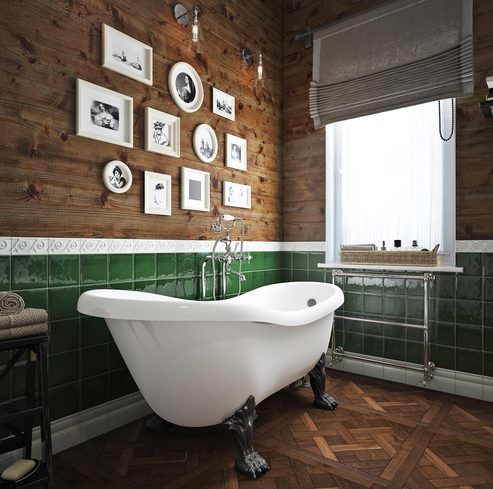 Ванная без унитаза в стиле ретро