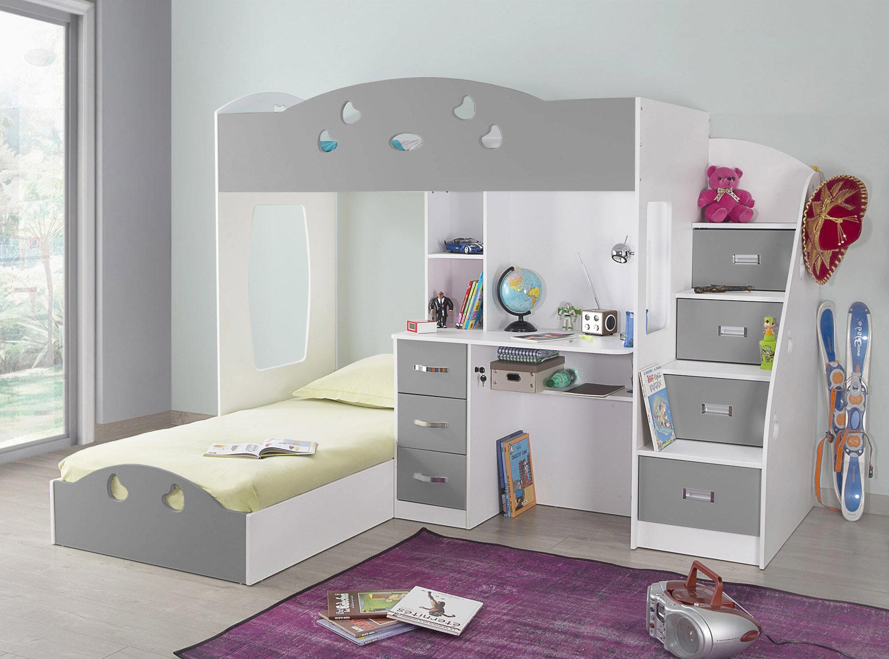 Двухъярусная детская кровать серая