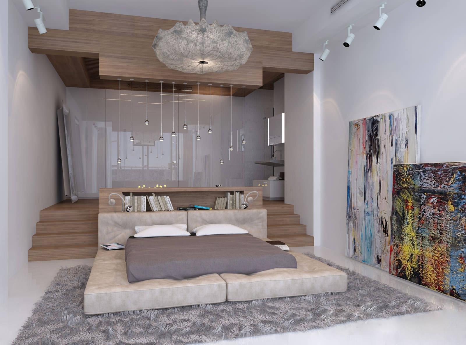 Бежевый, серый и коричневый цвет в интерьере спальни