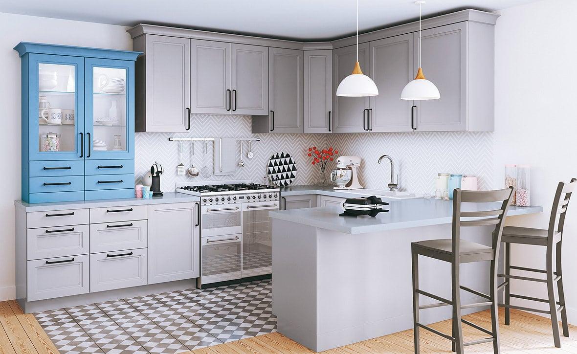 Кухня 14 кв. м серая