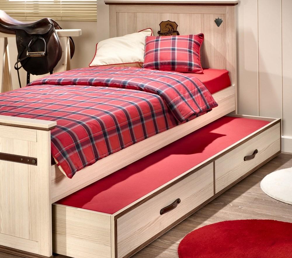 Выдвижная кровать под беленый дуб