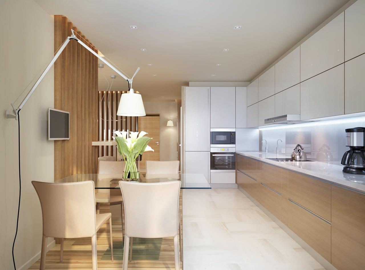 Просторная коричнево-белая кухня