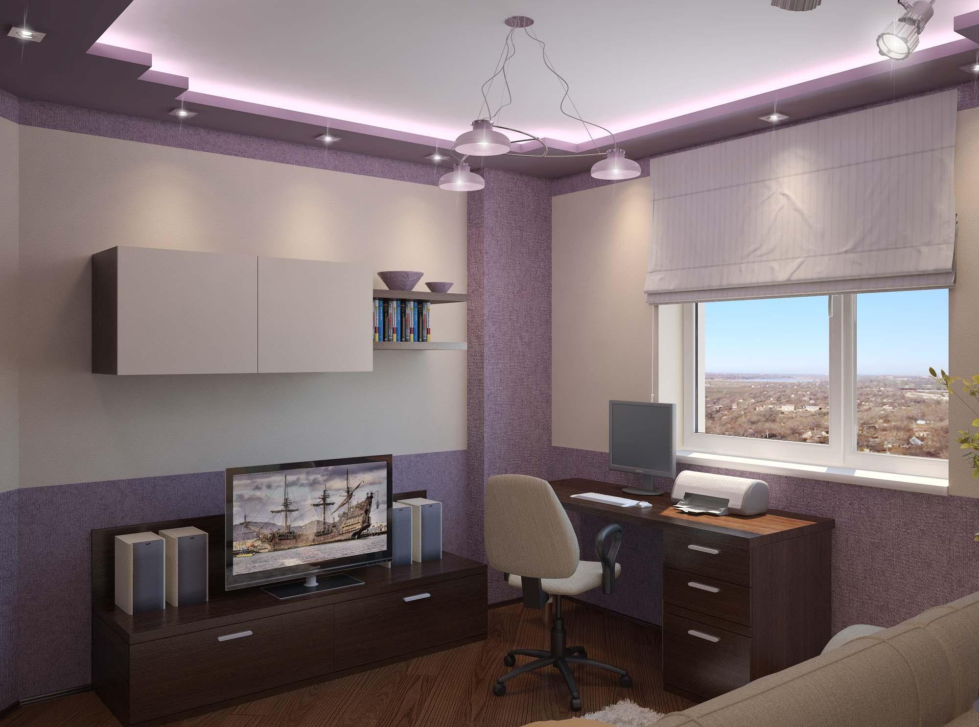 Фиолетово-белая комната для подростка