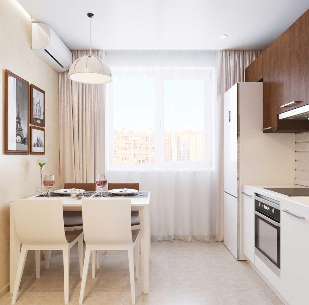 Коричнево-белая кухня 8 кв м