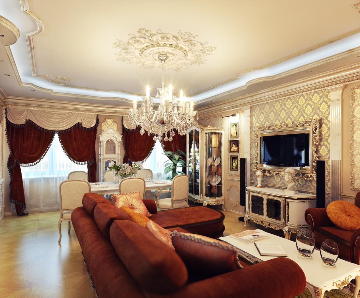 Красно-бежевая гостиная в классическом стиле
