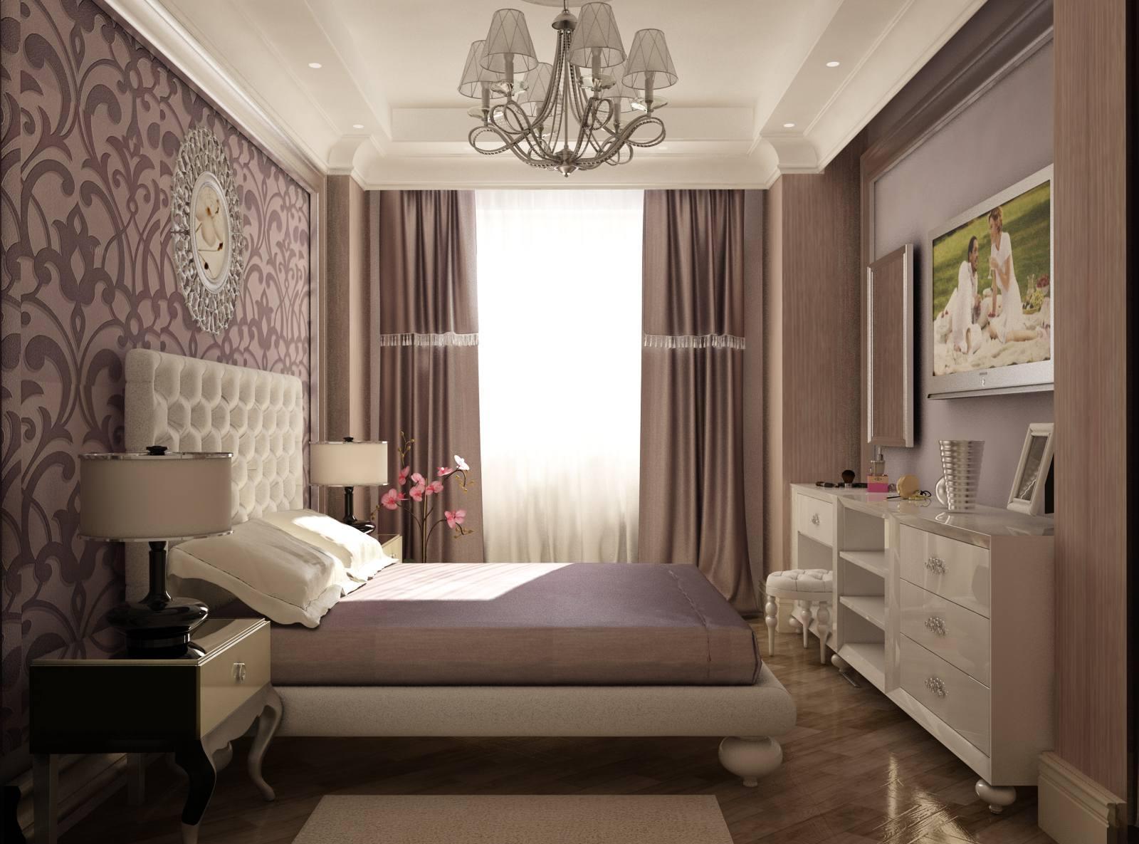 Сиренево-белый интерьер небольшой спальни