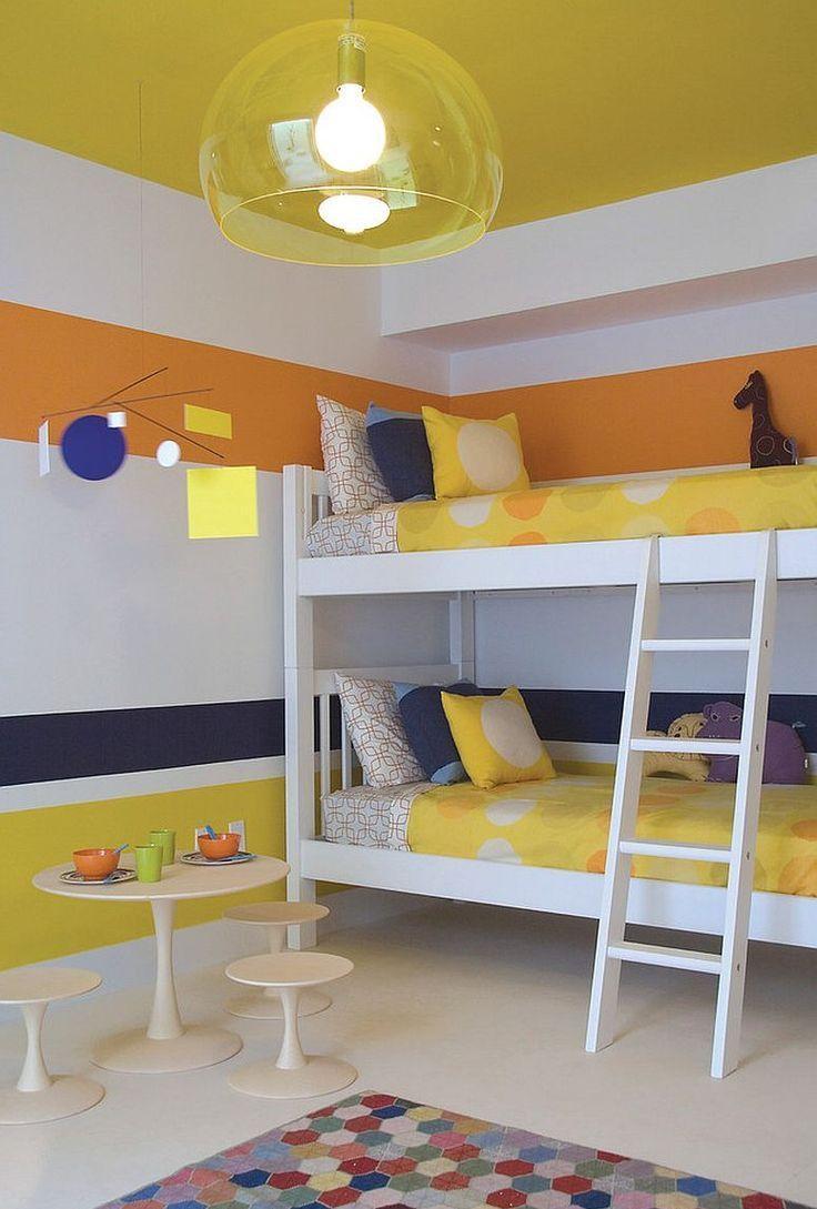 Эконом дизайн детской комнаты с двухэтажной кроватью