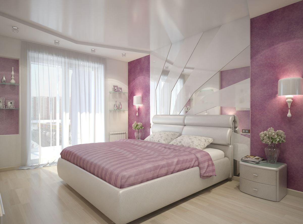 Белый, серый и розовый в спальне
