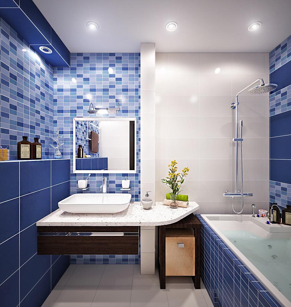 Ванная без унитаза с мозаикой