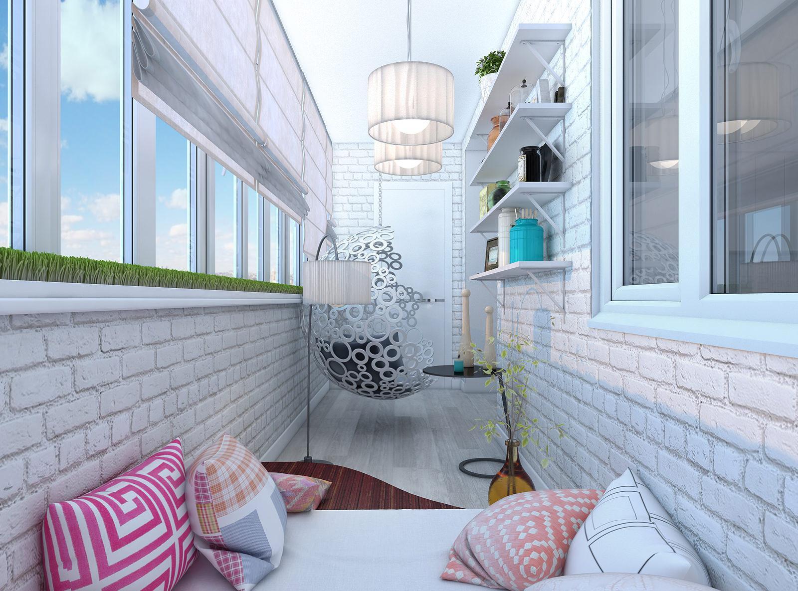 Оригинальное оформление балкона в светлых тонах