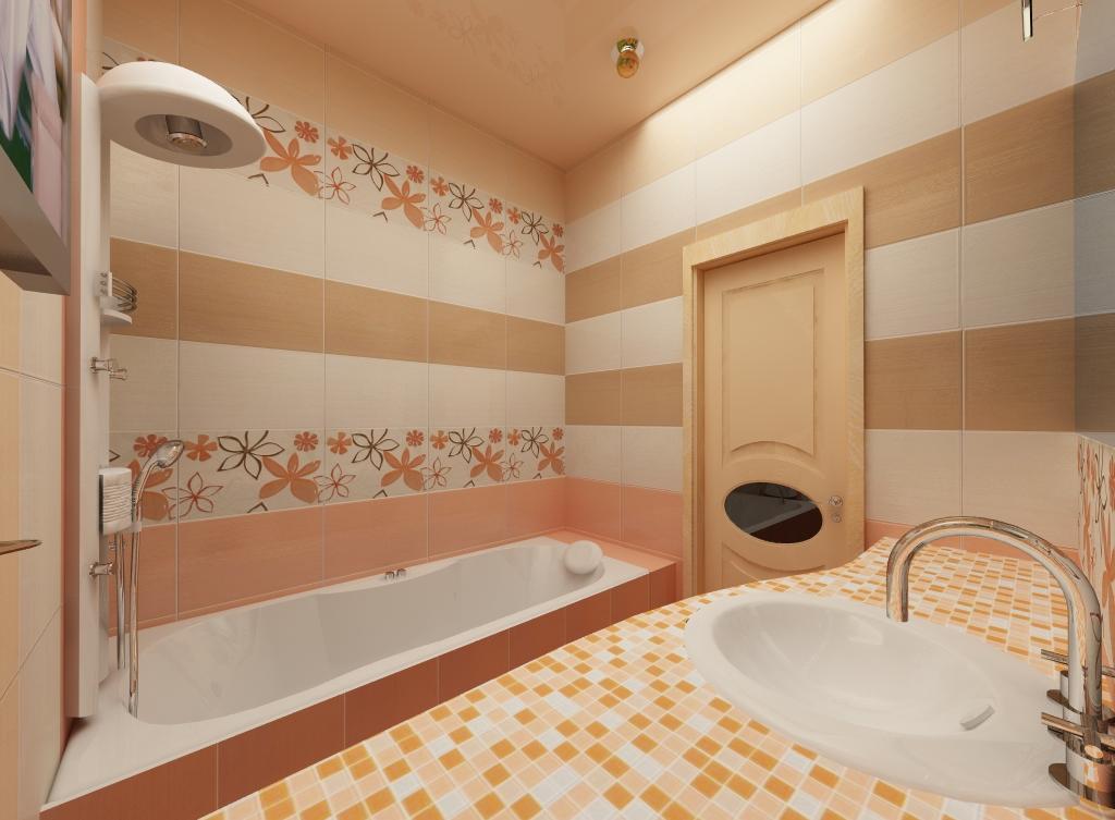 Точечное освещение в бело-бежевой ванной комнате без унитаза