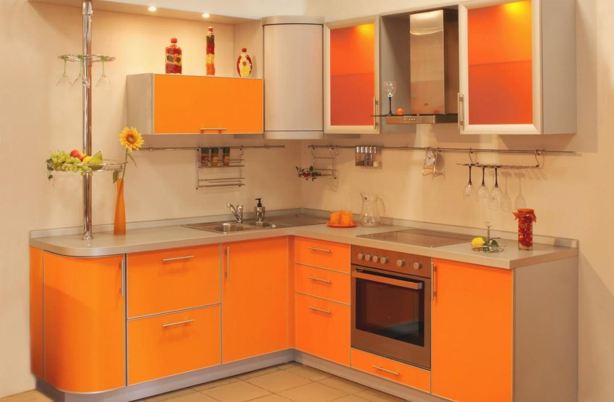 Оранжево-серый кухонный гарнитур