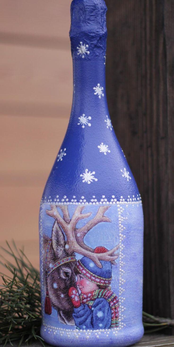 Новогодний декупаж бутылки шампанского с оленем