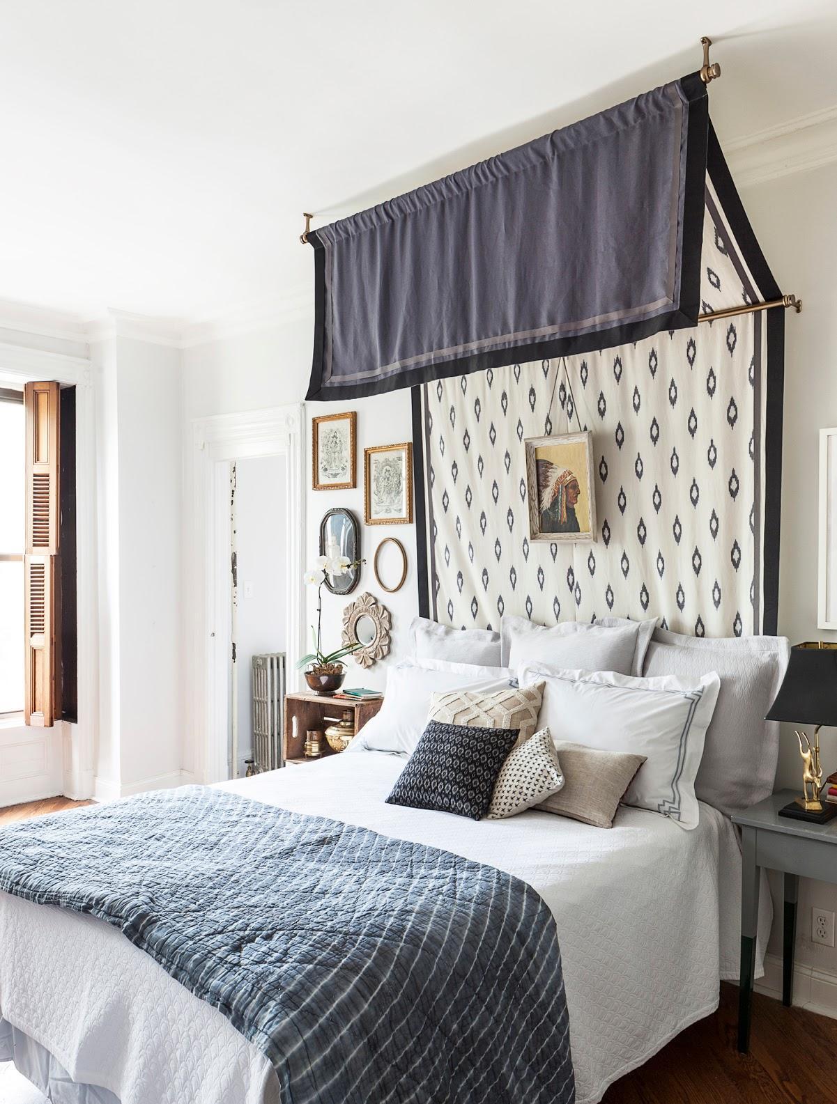 Балдахин над кроватью синий