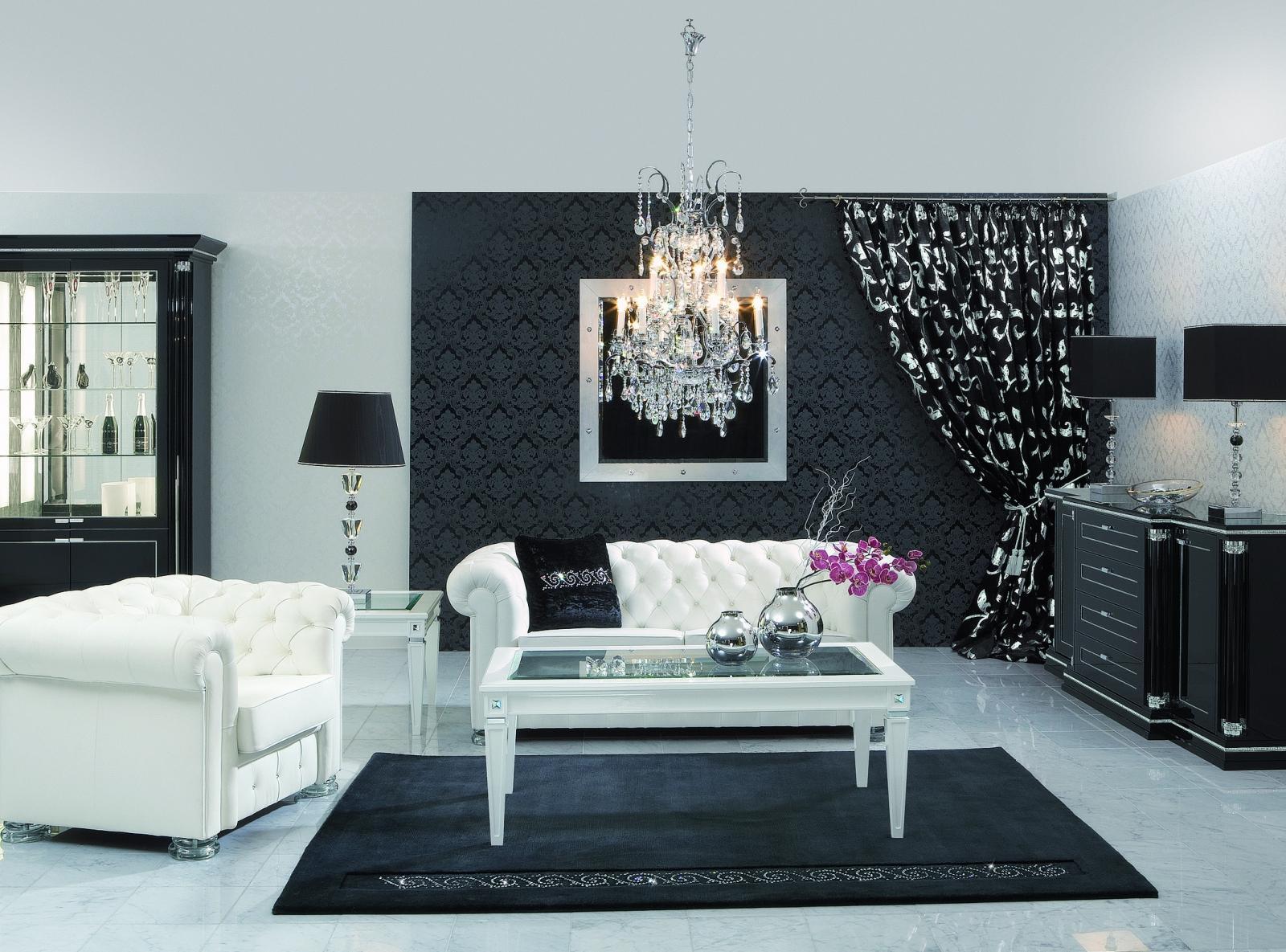 Стильная черно-белая гостиная