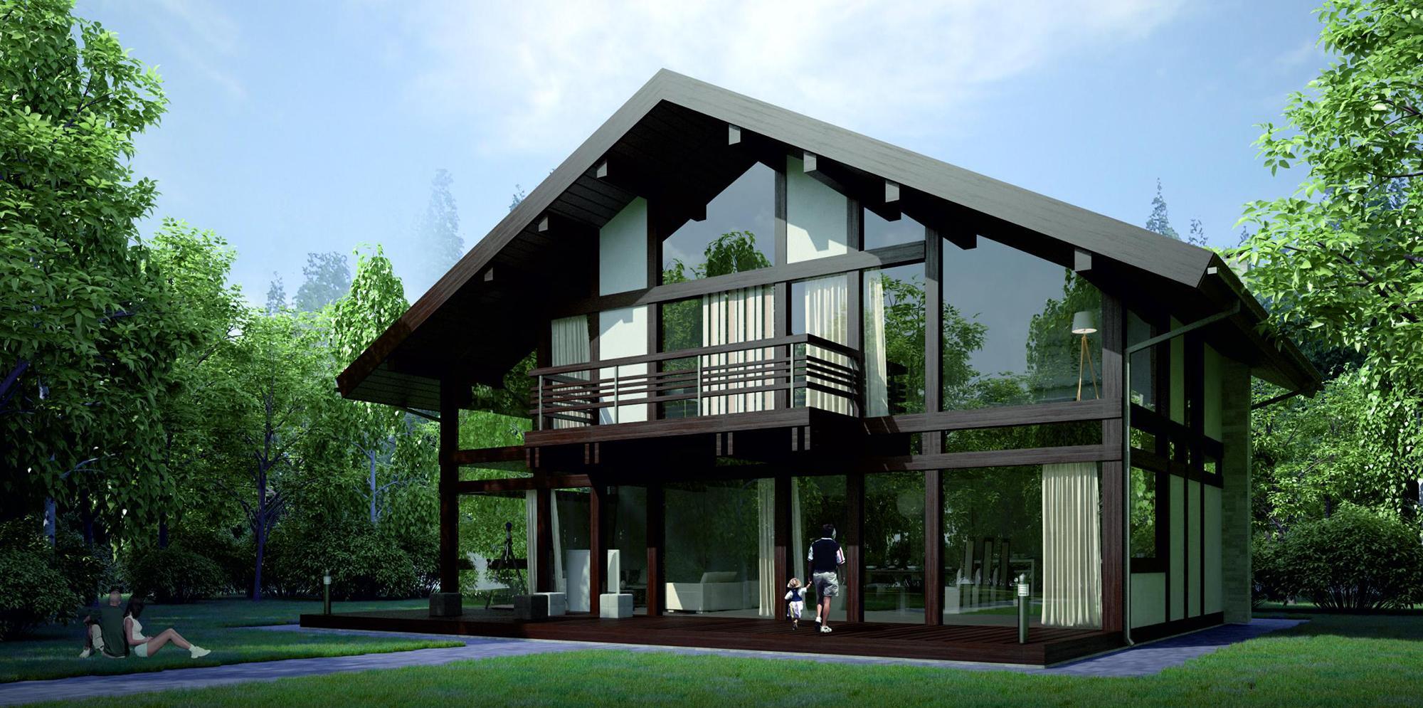 Двухэтажный дом в немецком стиле