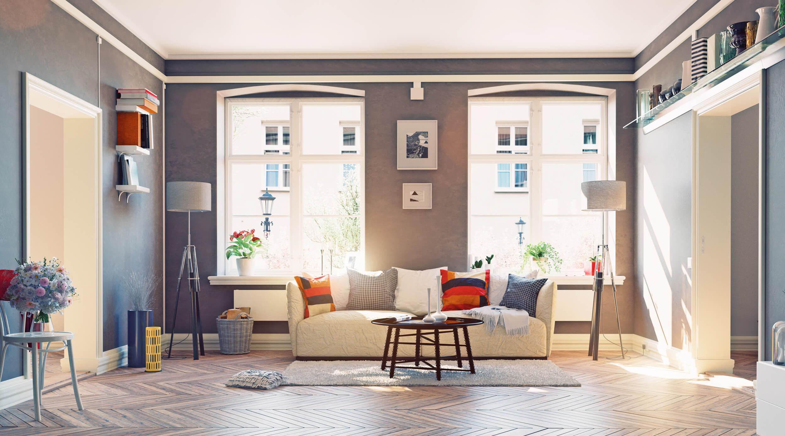 Гостиная с двумя окнами в индустриальном стиле
