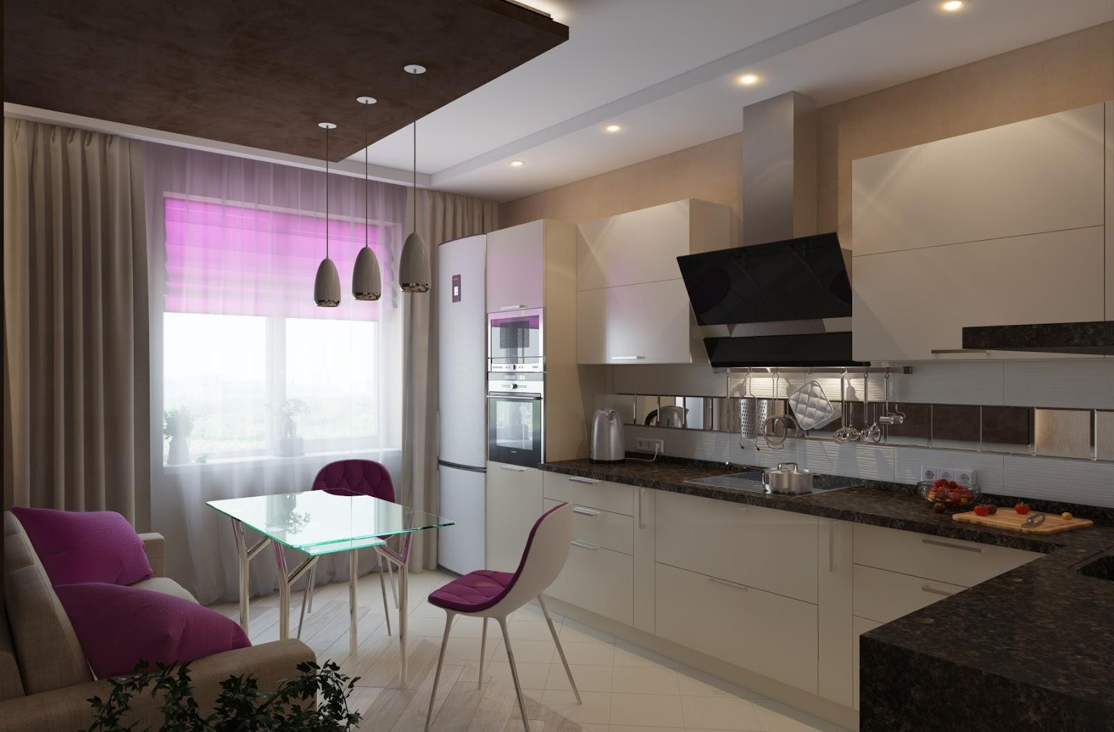Черно-белая кухня с розовыми акцентами