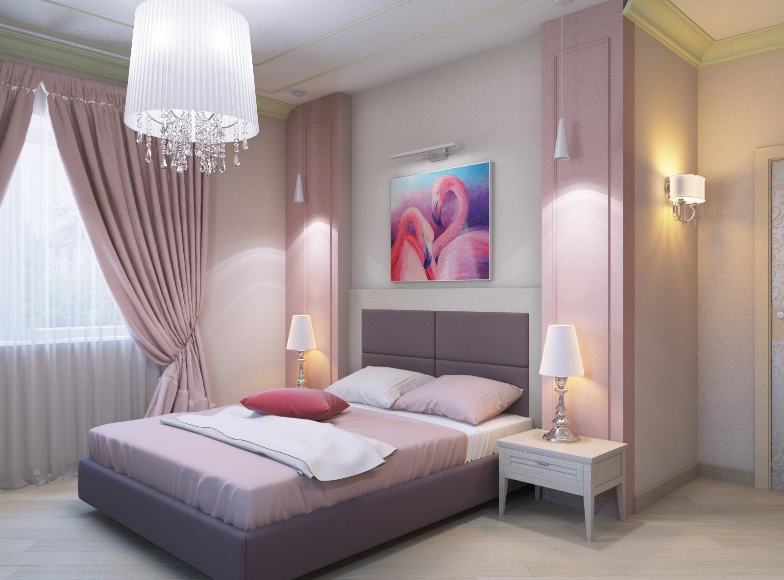 Плотные шторы и тюль в спальне в розовых тонах