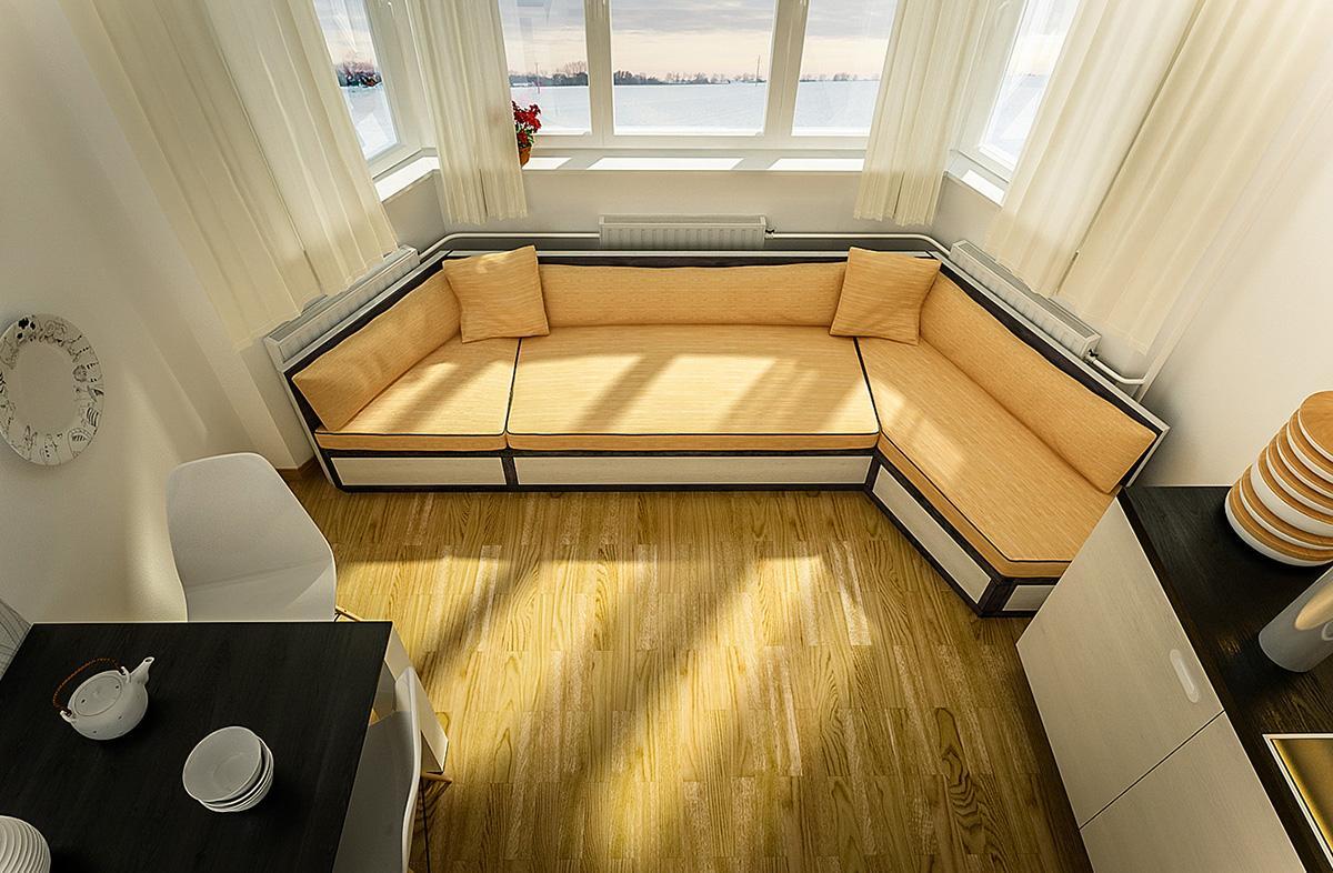 Эркерный диван около окна