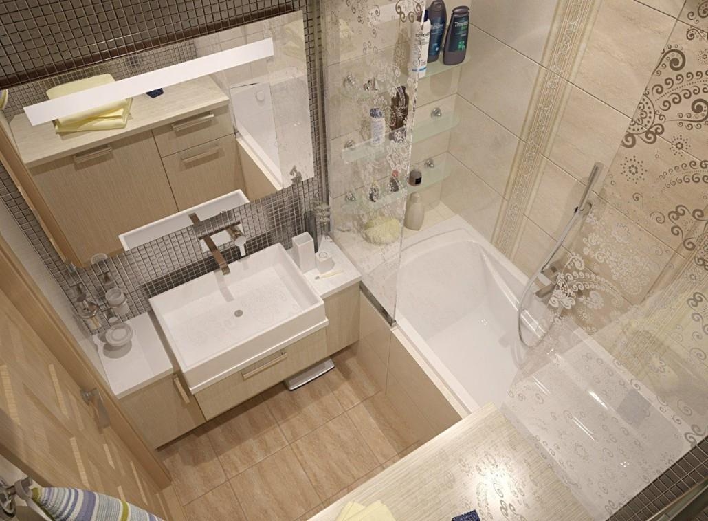 Бежевая ванная без унитаза