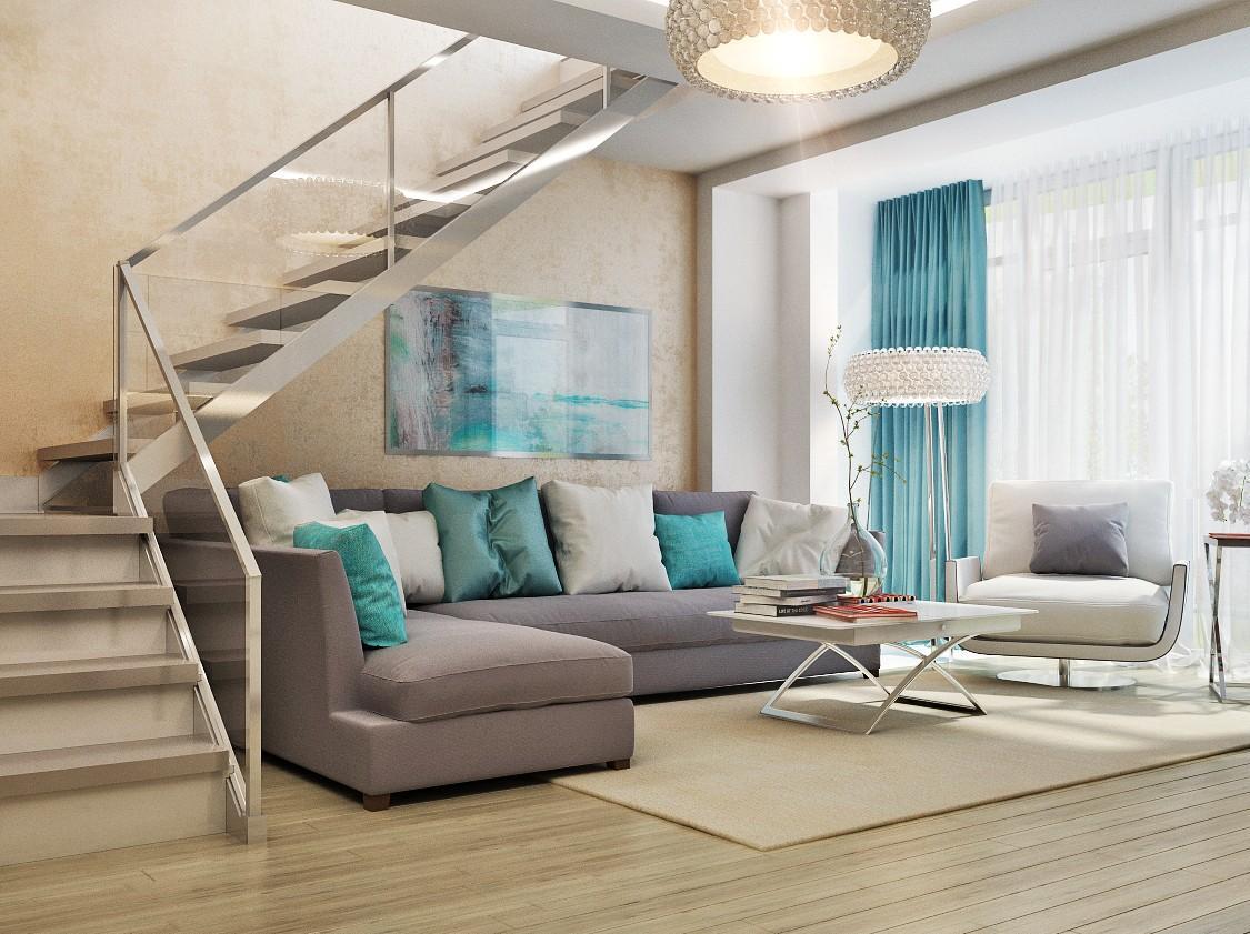 Стильная лестница из металла и стекла в двухуровневой квартире