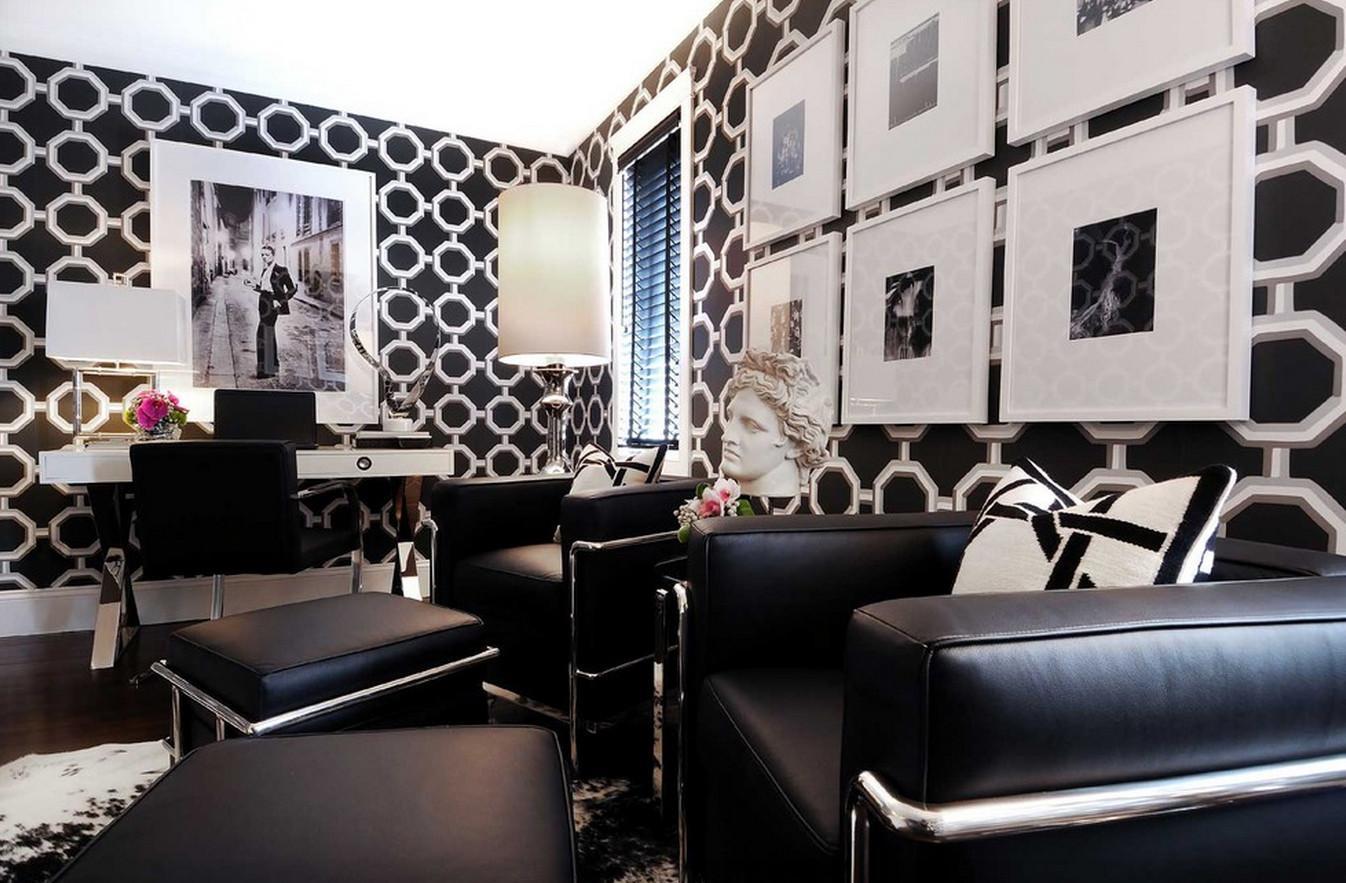 Черно-белая гостиная в стиле арт-деко