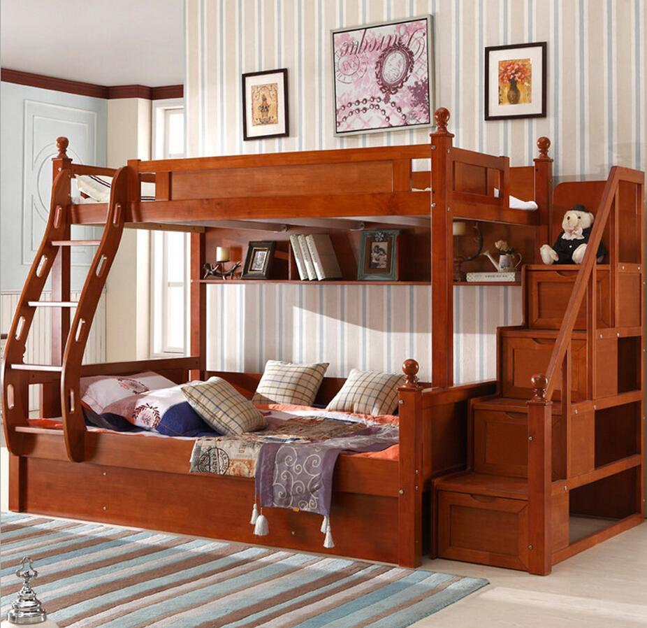 Детская двухъярусная кровать из дуба