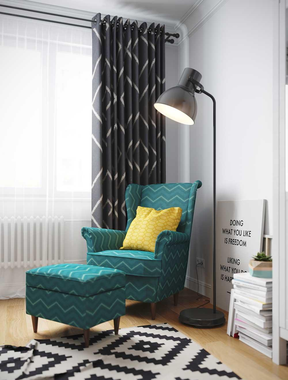 Зеленое кресло в черно-белой гостиной