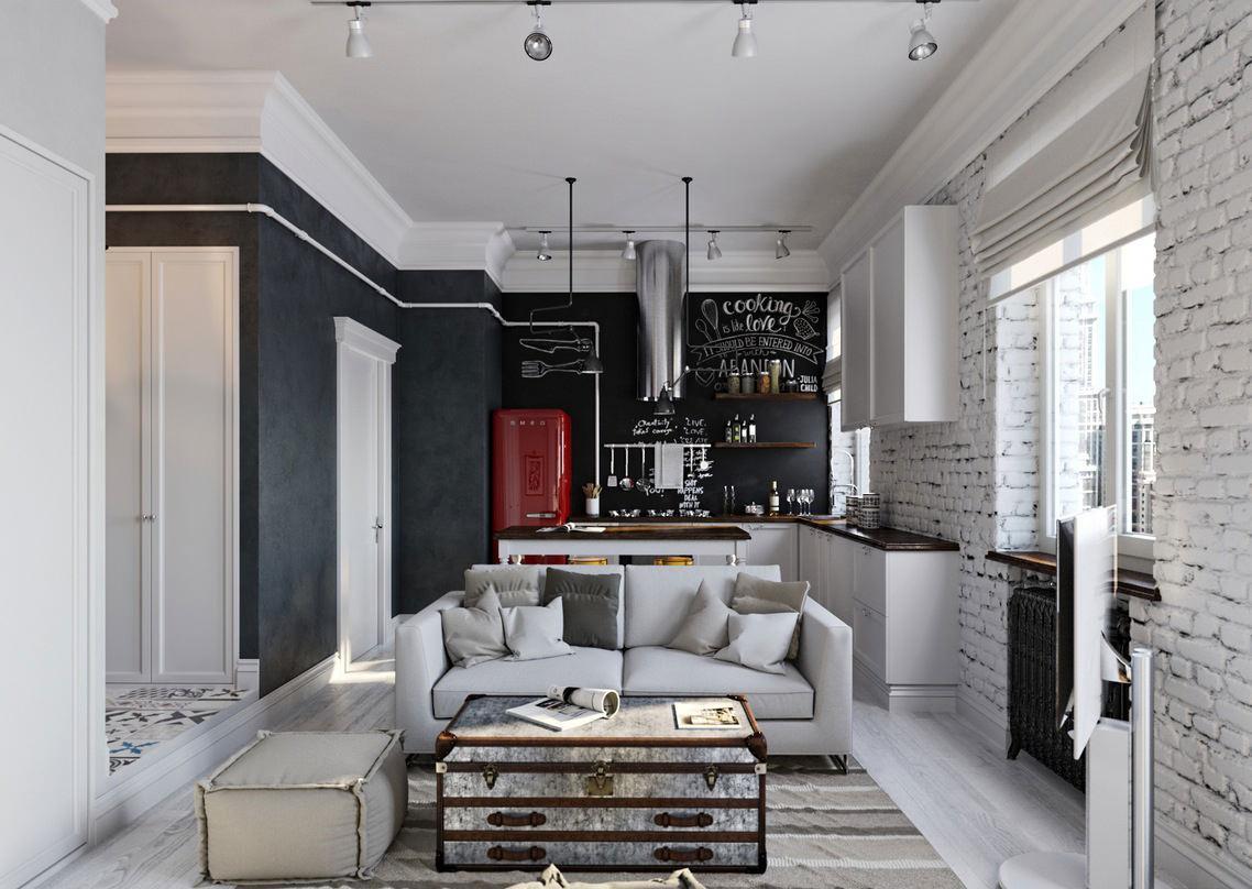 Черно-белая гостиная-кухня в скандинавском стиле