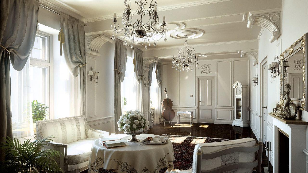Хрусталь в гостиной в классическом стиле