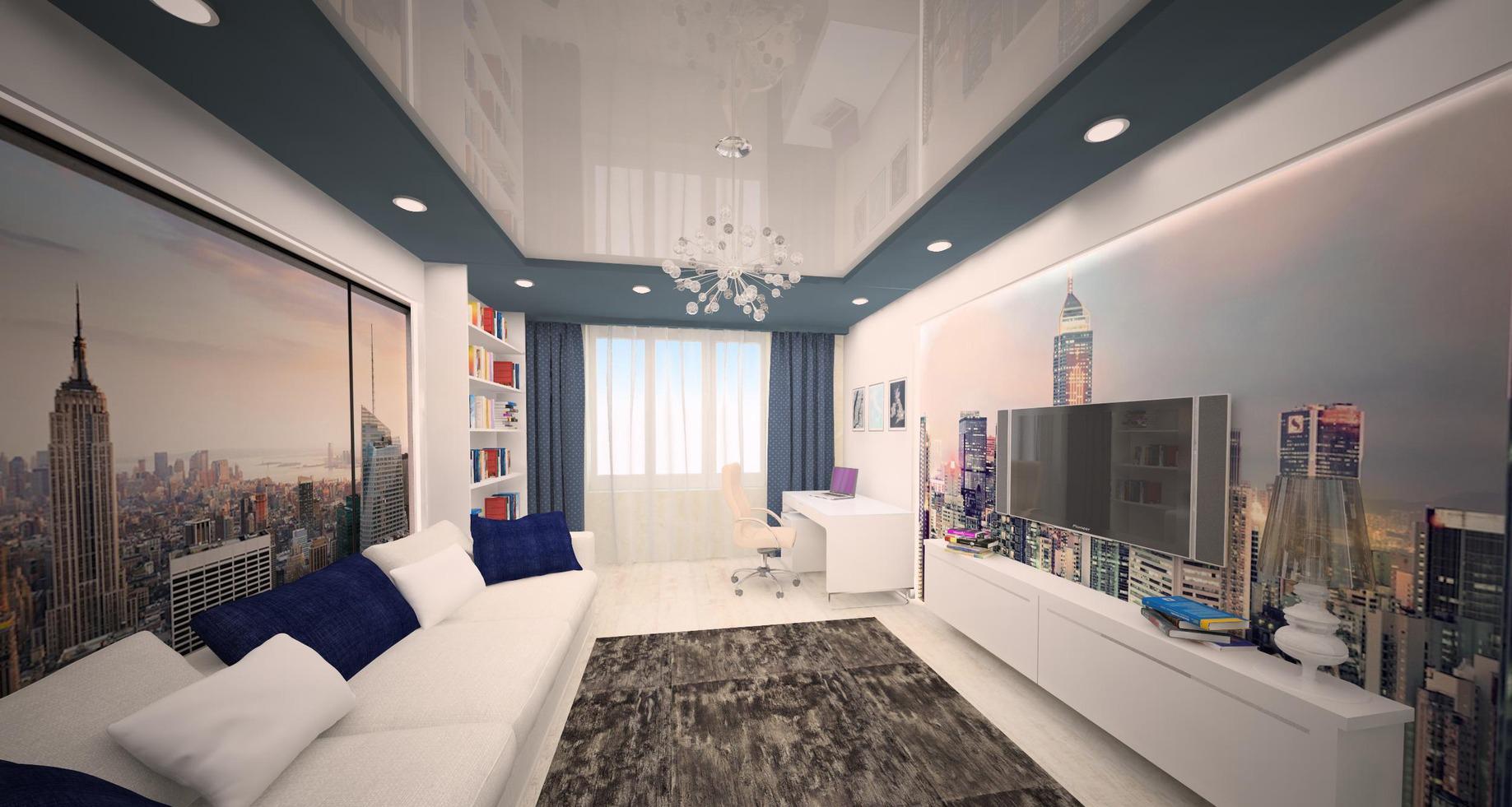 Интерьер комнаты мальчика подростка с дополнительным точечным освещением