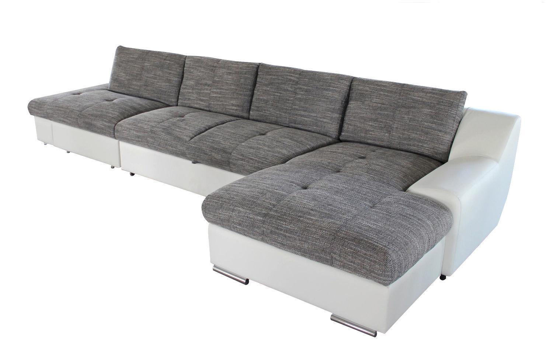 Бело-серый модульный диван с оттоманкой