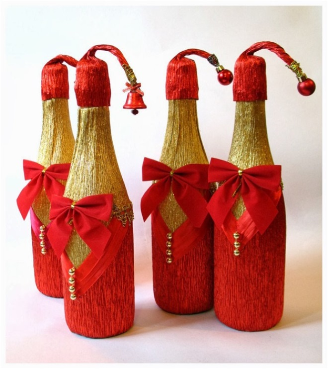 Декупаж новогодних бутылок шампанского
