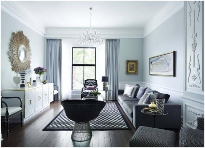 Дизайн гостиной в черно-белых тонах